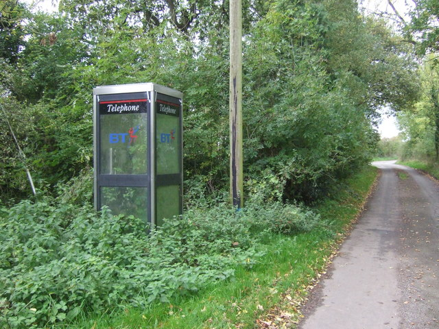 Overgrown telephone box on Quee Lane, Scounslow Green