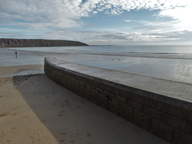 At Coble Landing, Filey looking to Filey Brigg