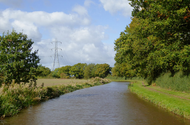 Canal south-east of Handsacre in Staffordshire