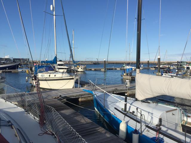 Boats moored on Pier M, Portland Marina