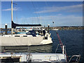 SY6874 : Boats at the end of Pier M, Portland Marina by Robin Stott