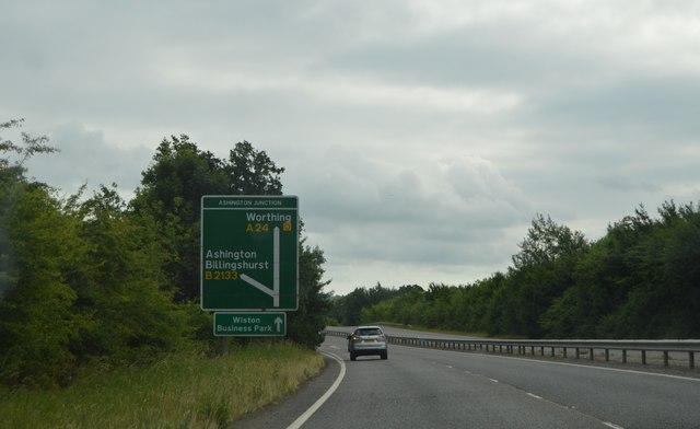 A24 approaching Ashington Junction