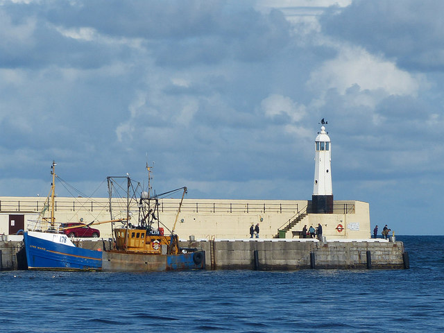 Fishing boat and lighthouse, Peel