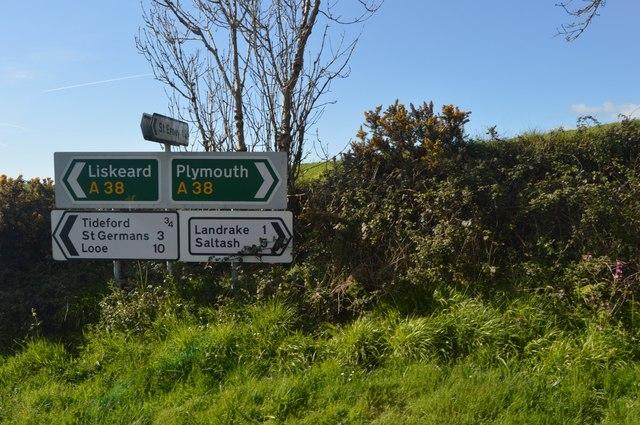 Road sign, A38