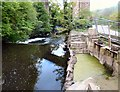 SJ9687 : Sluice gates by the river Goyt by Gerald England