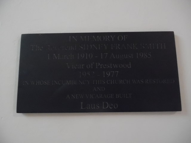 Plaque inside Holy Trinity Church, Prestwood
