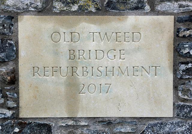 An inscribed stone at Old Tweed Bridge