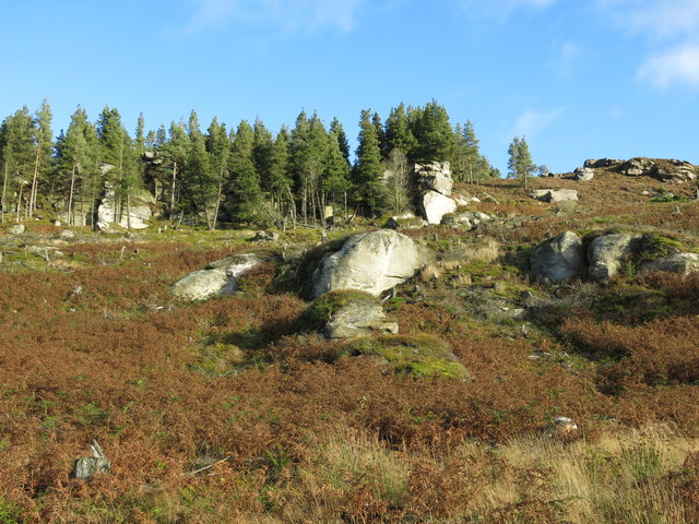 Rock outcrops on the northern slopes of Simonside