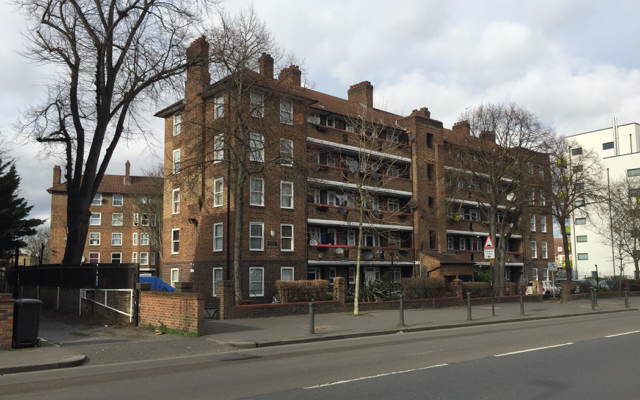 Lilford House flats seen across Coldharbour Lane, Camberwell, south London