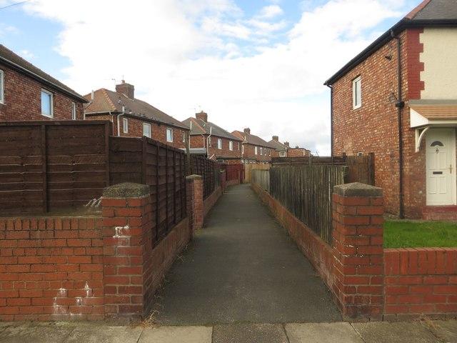 Path between gardens off Finchale Terrace, Jarrow