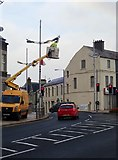 J3730 : NI Roads Service electrician working on lamps on the Central Promenade by Eric Jones