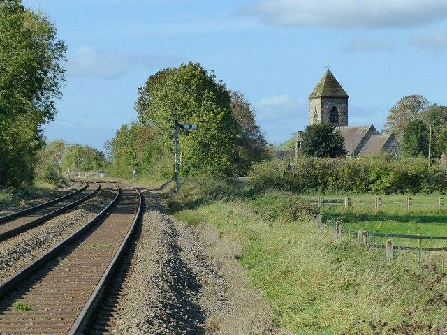 Railway and church at Scropton