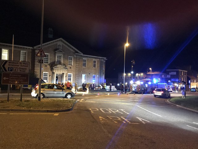 Emergency Services outside the former court house in Wisbech