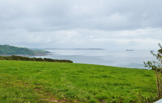 View out to sea from the road North of St. Anthony-in-Meneage