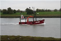 """TF3839 : LN129 """"Boy Steven"""", cockling boat, registered in Kings Lynn, running home on a high tide up the Witham (1) by Chris"""