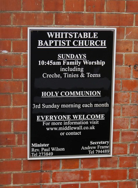 Whitstable Baptist Church (2) - notice, Middle Wall, Whitstable, Kent