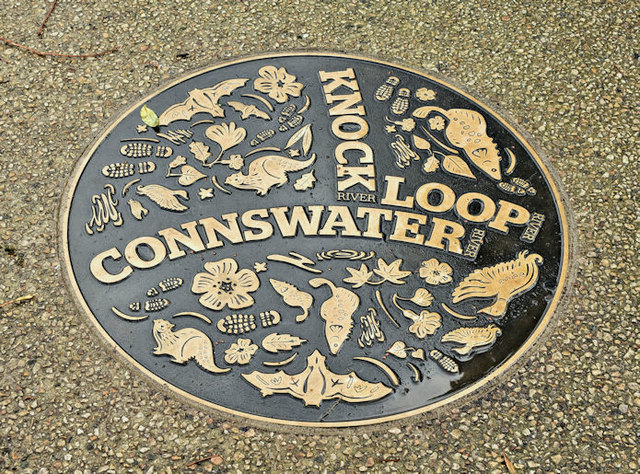 Connswater ground plaque, The Hollow, Belfast (October 2017)