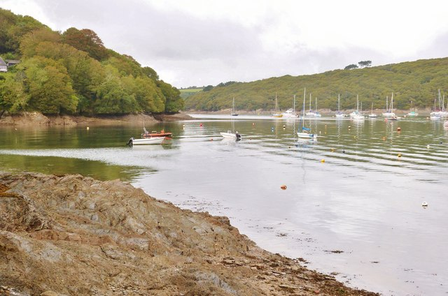 The Helford River. Looking upstream from Helford Point