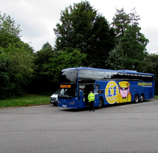 Megabus in Gordano Services, Portbury, North Somerset
