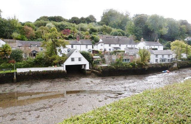 Houses on the Eastern side of the creek, Helford village, Cornwall