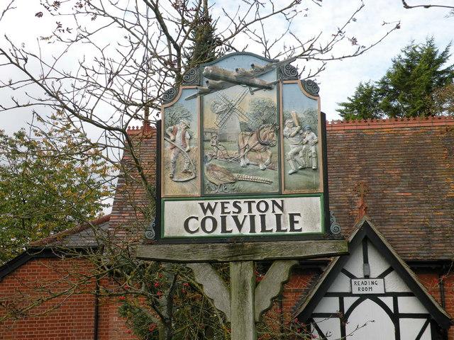 Weston Colville village sign (detail)