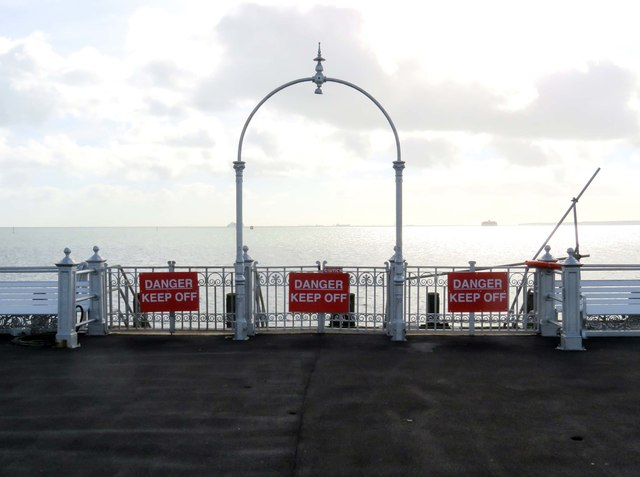 Gate to the landing stage on South Parade Pier in Southsea