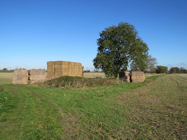 Bales at a field corner
