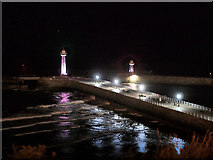 NZ8911 : Whitby Harbour, West Pier at Night by David Dixon