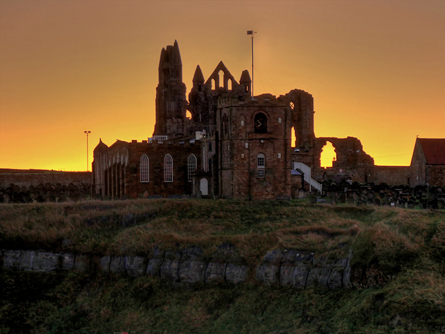 St Mary's Church and Whitby Abbey at Dawn