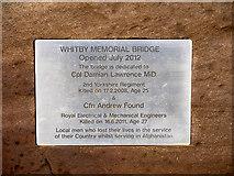 NZ8911 : Whitby Memorial Bridge (plaque) by David Dixon