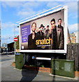 ST3187 : Two telecoms cabinets and an advertising board on a city centre corner, Newport by Jaggery