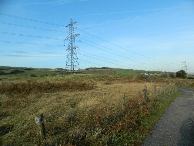 Power lines near Castellau Uchaf Farm