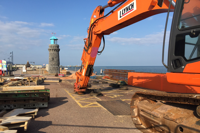 Engineering work at The Point car park, Teignmouth seafront