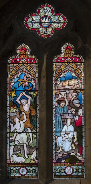 Chancel stained glass window, All Saints' church, Evesham