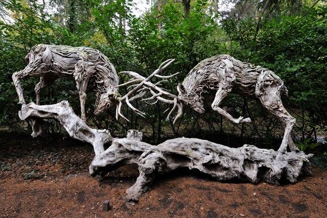 Churt Sculpture Park: 'Rutting Stags' by James Doran-Webb'
