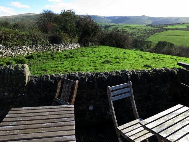 View of lakeland Fells from Mae's Tearoom terrace