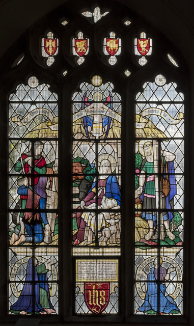 Stained glass window,  St Lawrence's church, Evesham