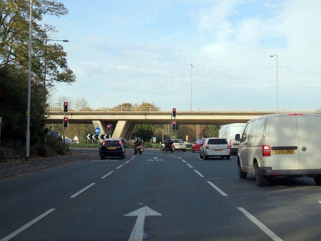 Garstang Road runs under the M55