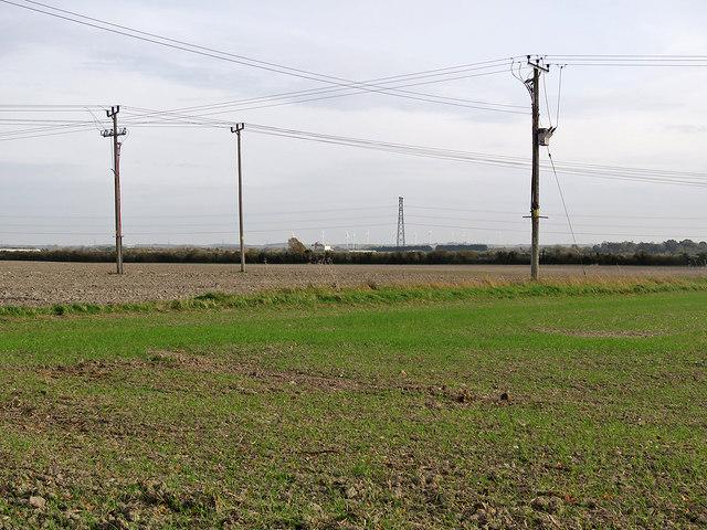 Teversham: wires, poles and a pylon
