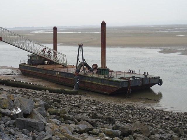Moored barge near Pwll