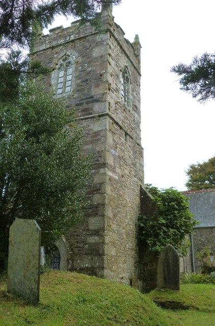 The tower of the parish church at Manaccan, Cornwall
