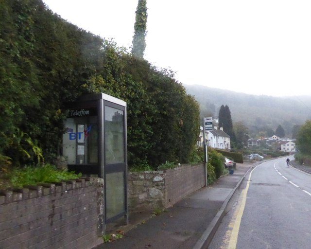 Telephone box and bus stop by A466 in Llandogo