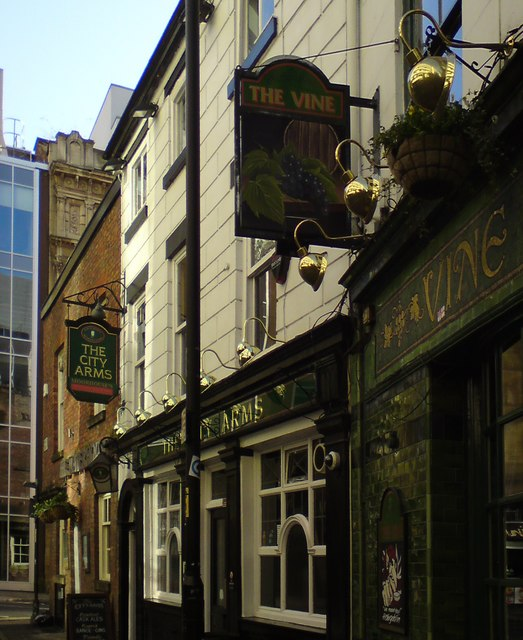 The City Arms & The Vine: signs