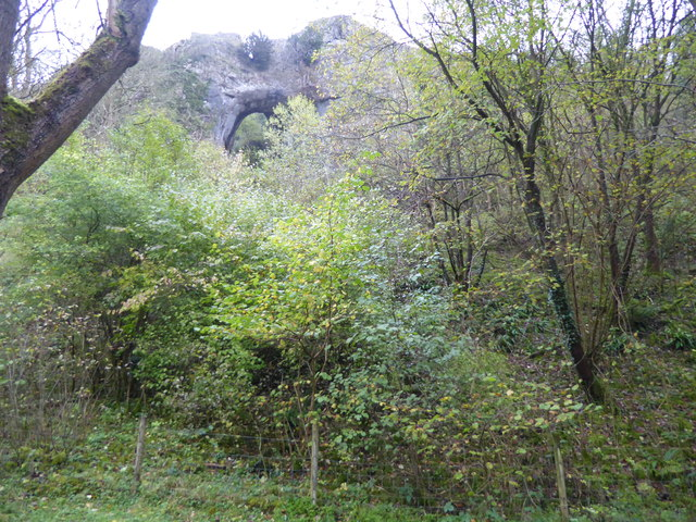 Reynard's Cave seen from the bank of the River Dove