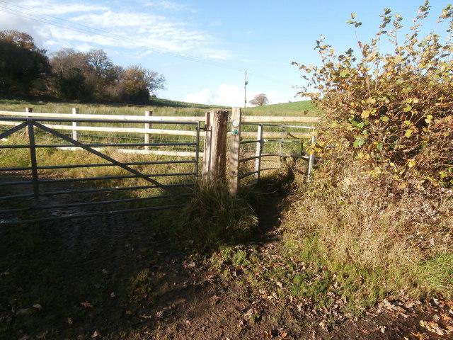 Gate to Taff Ely Ridgeway Walk footpath, north of Rhiwsaeson