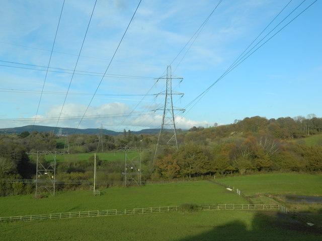 Power lines and pasture, near Llwyn-y-brain Farm