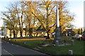 SP9556 : Harrold War Memorial and village green by Philip Jeffrey