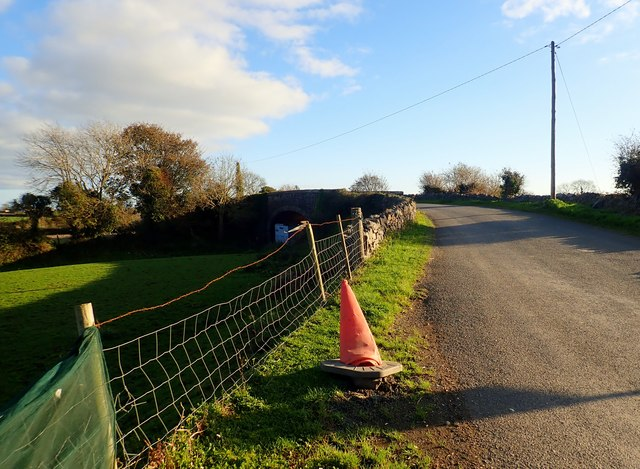 Approaching the road bridge over the disused Dundalk to Greenore Railway Line