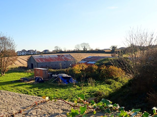 Farm sheds next to the former railway line at Crossalaney