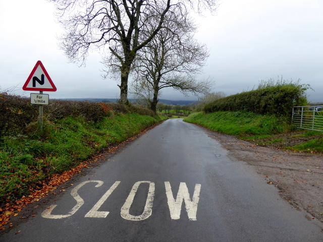 Slow down sign, Bracky Road